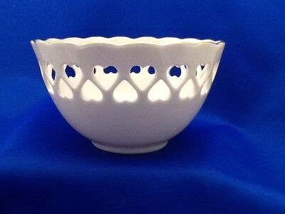 Lenox China Pierced Heart Candy Nut Bowl with Embossed Rose Inside Ivory Gold