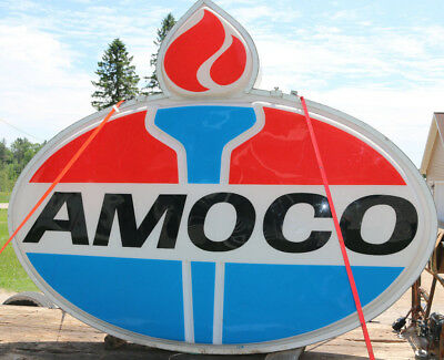 RARE large AMOCO gas/oil station light-up sign 8' x 10' ...used great condition