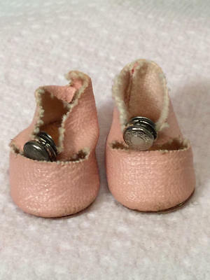 Vintage Vogue Ginny - Pink Oil Cloth Center Snap Shoes W/fuzzy Bottoms