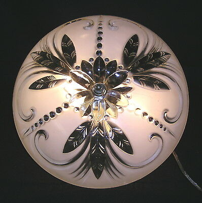 """Vintage Antique Ceiling Light Fixture with 12"""" Art Deco Center Hole Glass Shade"""