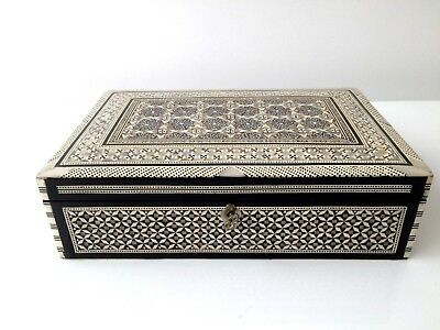 Antique Large Anglo Indian Inlaid Mother Of Pearl Jewellery Box