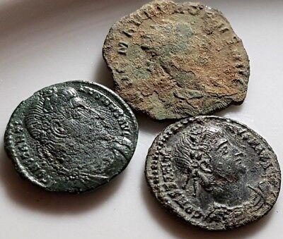 Perfect Lot Of 3 Ancient Roman Bronze Coins Virtus Probi , Constantine Max