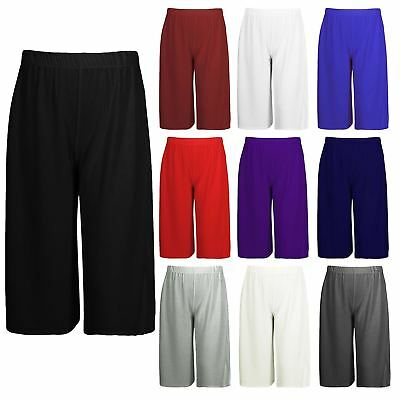 Womens Ladies 3/4 Length Short Palazzo Trousers Casual Wide Leg Culottes Pants