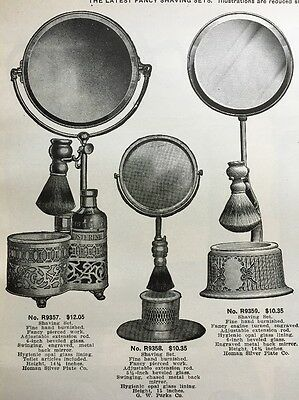 1918 Shaving Set Stand Mug Mirror Strap Brush Barber ad pages x4 Illustrated