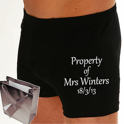 PERSONALISED Boxer shorts PROPERTY OF? Or your OWN MESSAGE Cotton Wedding Groom