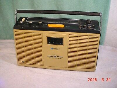 MacDonald Portable AM/FM Stereo Radio 8 Track Tape Player Boombox Tested