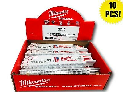 (10 PACK) Milwaukee 48-01-7712 6 in. 10 TPI The Torch, Sawzall  Blade IN-STOCK