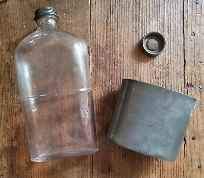 Antique JAMES DIXON & SONS Pewter Glass Pint Flask Trumpet & Banner Figural Mark