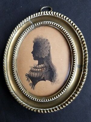 Early Silhouette Miniature by Isabella Beetham Dated 1785, 27 Fleet St. London