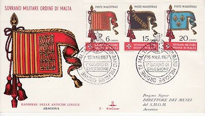 Sovereign Military Order of Malta SMOM FDC 1967 Flags (c)
