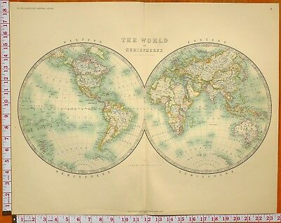 1900 Large Antique Map The World In Hemispheres Western & Eastern Africa Asia