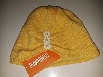 NEW Gymboree Girl Hat Yellow with Flowers Buttons Toddler 2T - 3T