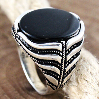 925 Sterling Silver Turkish Handmade Ottoman Flat Onyx Stone Men's Luxury Ring