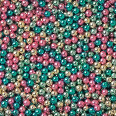 Metallic Multi Mix  4mm Edible Sugar Pearl Balls Dragees Cake/Cupcake Decoration
