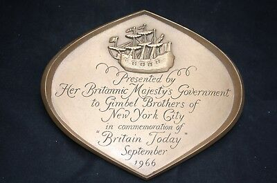 A Brass Plaque To Gimbel Brothers To Commemorate Britain Today 1966.