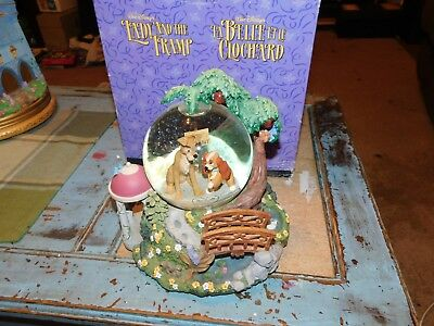 Vintage Collectible Disney Light Up Lady & the Tramp Snowglobe Wet Cement W/ BOX