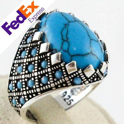 925 Sterling Silver Turkish Handmade Turquoise Stone Men's Luxury Ring