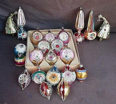 Vintage Lot Of 22 Glass Christmas Ornaments Indents, Mercury, Trees Holidays