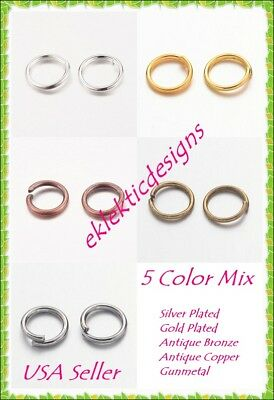 8mm 50pcs 5 Mixed Colors 10pcs each .7mm 21g Open Jump Rings Jewelry Findings