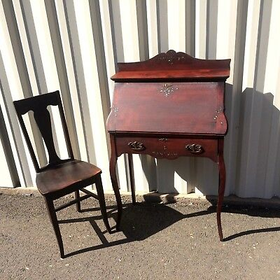 Antique 19th Century Secretary Desk with Beautiful Inlay 1 Drawer + Chair