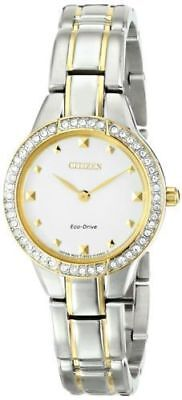 Citizen Eco-Drive EX1364-59A Women's Dress Silhouette Crystals Two-Tone Watch