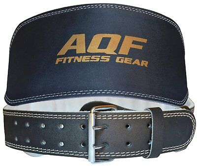 """AQF Weight Lifting 6"""" Leather Belt Back Support Strap Gym Power Training Fitness"""