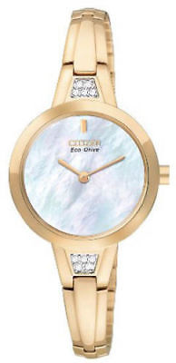 Citizen Eco-Drive EX1153-54D Women's Dress Mother of Pearl Dial Gold-Tone Watch