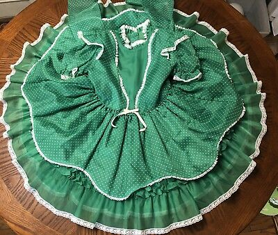 Vintage Girls Swiss Dot Sheer Green Circle Dress Size 6x Party Dress