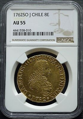 1762 Chile 8 Escudoes Charles III NGC AU 55 - NGC Census 5/2