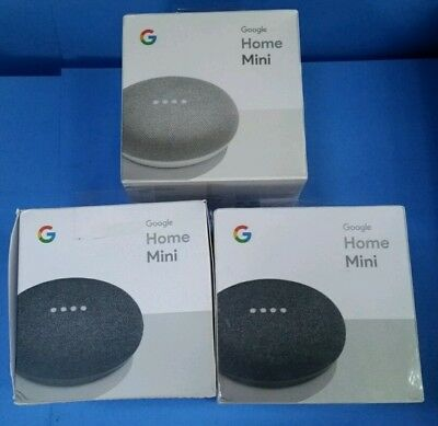 LOT OF 3  GOOGLE Home Mini in CHALK & CHARCOAL 2 FACTORY SEALED 1 OPEN PACKAGE