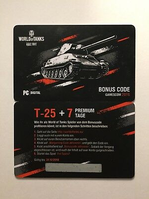World of Tanks Bonuscode T-25 WoT Wargaming Code Gamescom