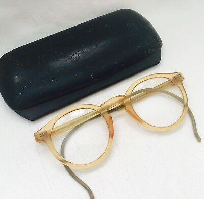 Vintage Blonde Celluloid Safety WILLSON EYEGLASSES with Metal Case
