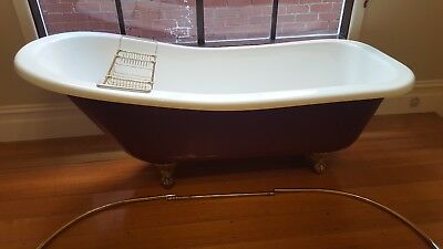 Claw foot bath fibreglass Large Burgundy  - White with gold claws.