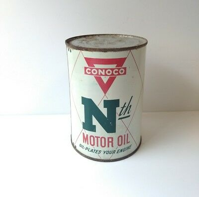 Vintage 1940's CONOCO Nth MOTOR OIL 1QT CAN, SAE 10-10W Continental Oil Company