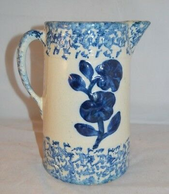 Old Blue Spongeware Stoneware Pitcher with Nice Cobalt Blue Flowers - 9 in tall