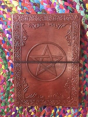Hand Made Leather Bound Book/Journal Recycled Paper Pentagram 25 x 18 cm