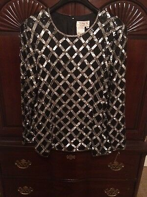 Women's  Heavily Beaded Sequins For Evenings Top NWT size XL Talbots