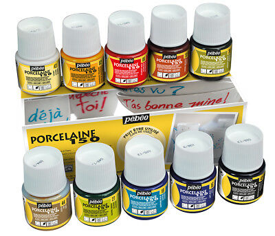 Pebeo Porcelaine 150 Permanent Ceramic Paint Assorted Colours 10 x 45ml Box Set
