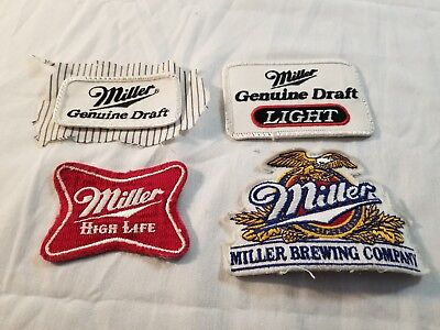 Miller Bewing Company Patches Lot/Beer/Vintage/ High Life/ Genuine Draft/ Light