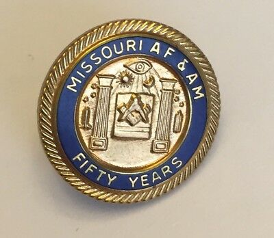 Vintage Missouri AF & AM Fifty Year member Masonic gold filled lapel pin AFAM