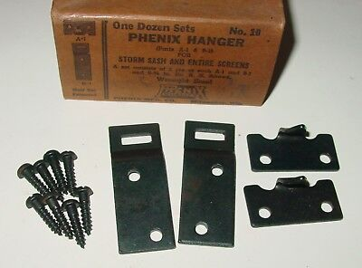 2 Vintage Phenix Hardware Storm Window Sash & Screen Hangers Black USA NOS
