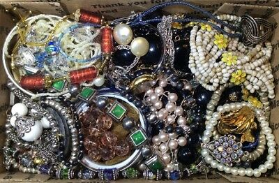 Huge Vintage - Now Jewelry Lot Estate Find Junk Drawer UNSEARCHED UNTESTED #375