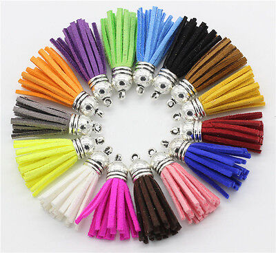 10pcs Suede Leather Tassel Keychain Cellphone Straps Jewelry Charms Craft 40mm