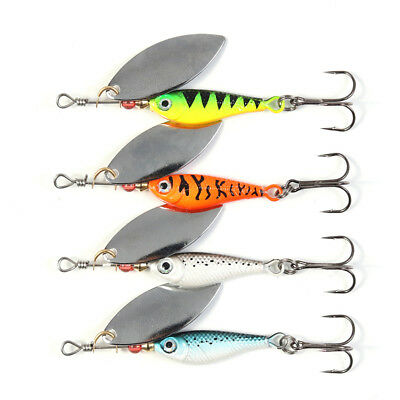 4pcs Fishing Lures Mixed Lure Artificial Crank Bait Fishing Tackle Slice Spinner