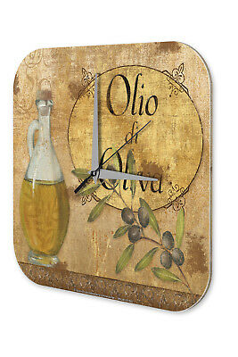 Wall Clock Retro Vintage  Olive branch Olive oil bottle Printed Acryl Acrylglass