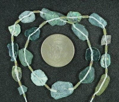 Ancient Roman Glass Beads 1 Medium Strand Aqua And Green 100 -200 Bc 892