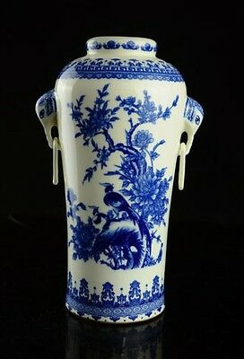 RARE ! Chinese Blue And White Porcelain Vase With QIAN LONG mark d02