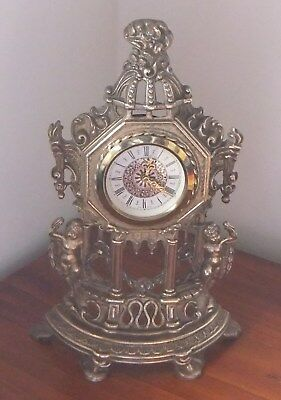 Brass Mantle Clock. Made in West Germany.