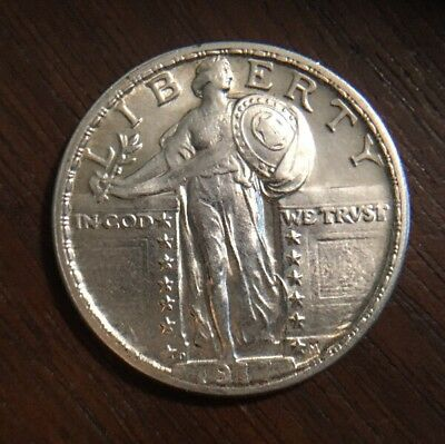 1917-D STANDING LIBERTY QUARTER - TYPE 2 - Almost Uncirculated - FREE SHIPPING!