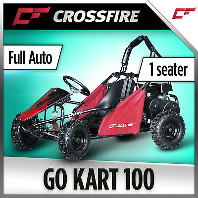 Crossfire Go Kart 100 - 1 Seater Buggy, Safety Belts, Roll Bar, 100cc 4 Stroke